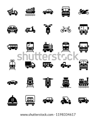 Transportation Glyph Vector Icons