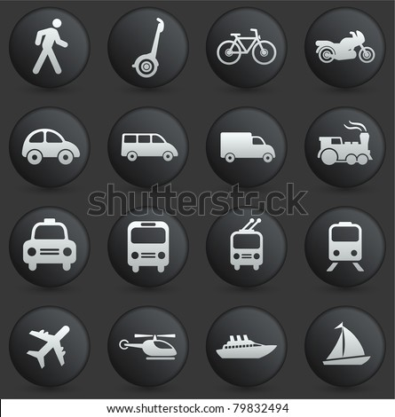 Transportation Icon on Round Black and White Button Collection Original Illustration