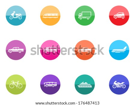 Transportation icon series in color circles.