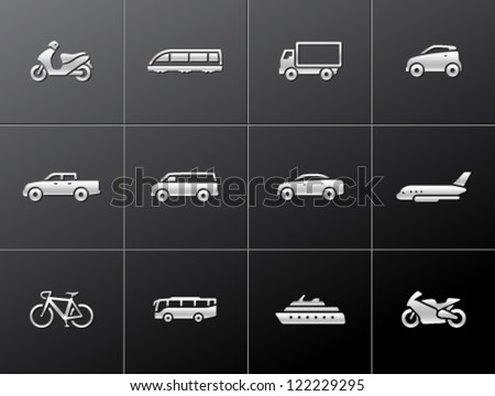 Transportation icon series in metallic style