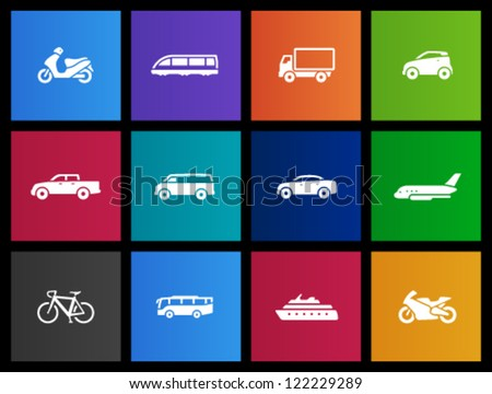 Transportation icon series in Metro style