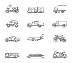 Transportation icon series in sketch