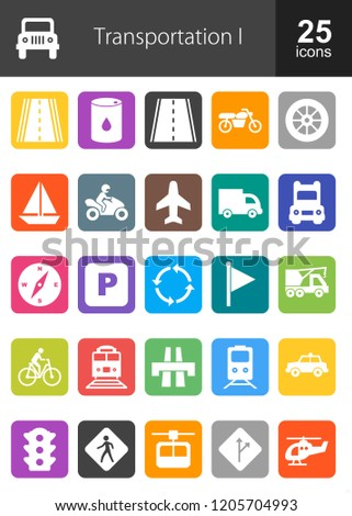 Transportation icon set. Can also be used for transport , network, connection. Suitable for web apps, mobile apps and print media.