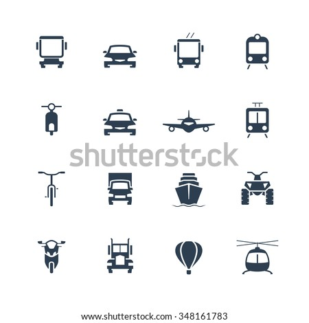 Transportation icon set, front view
