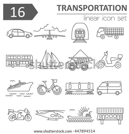 Transportation icon set. Thin line design. Vector illustration