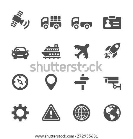 transportation icon set, vector eps 10.