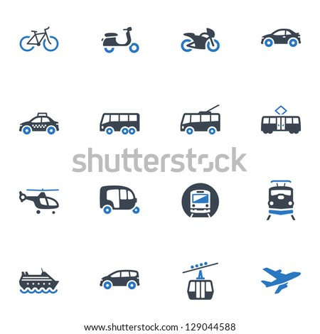 transportation icons   blue