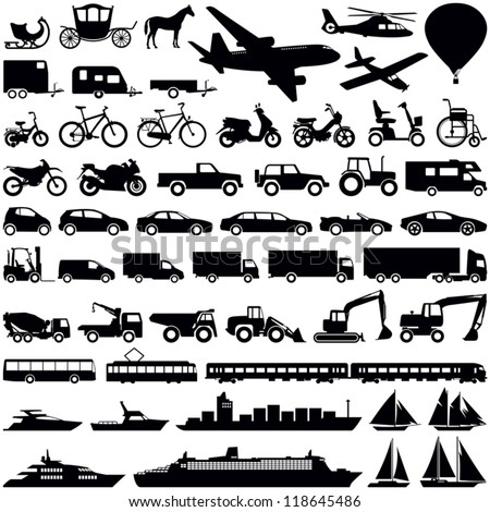 Transportation icons collection - vector silhouette - stock vector