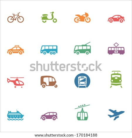 Transportation Icons - Colored Series