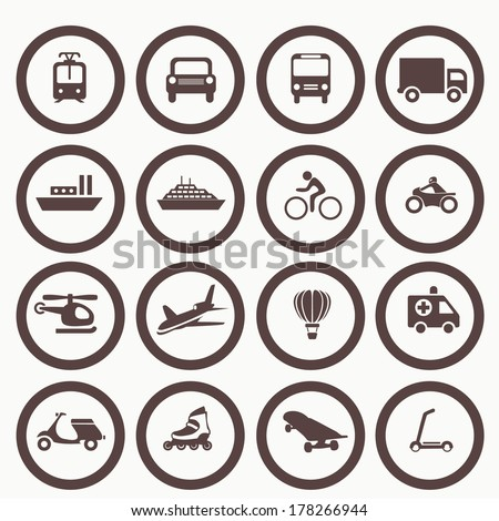 Transportation icons design elements. Vector illustration. Simple icon