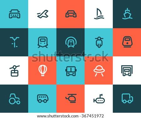 Transportation icons. Flat style