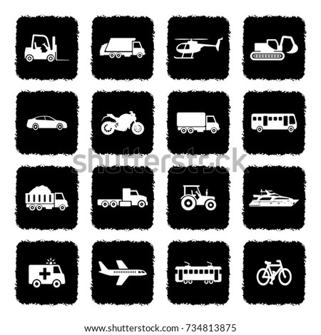 Transportation Icons. Grunge Black Flat Design. Vector Illustration.