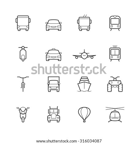 transportation icons in thin
