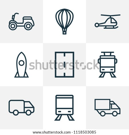 Transportation icons line style set with lorry, chopper, missile and other moped elements. Isolated vector illustration transportation icons.