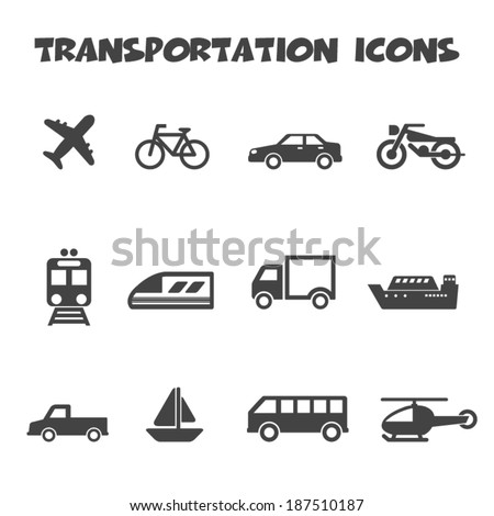transportation icons, mono vector symbols