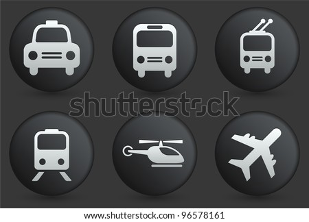 Transportation Icons on Black Internet Button Collection Original Illustration
