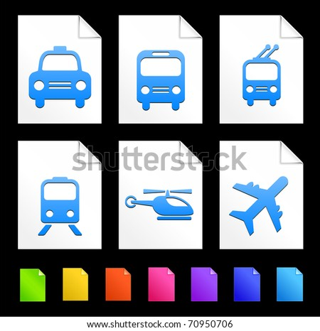Transportation Icons on Colorful Paper Document Collection Original Illustration