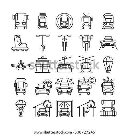 Transportation icons set. All kinds of vehicle.