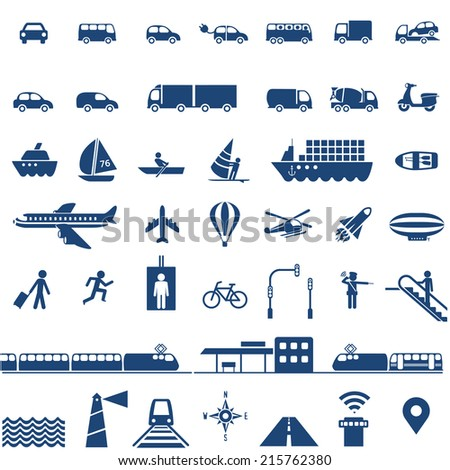 Transportation icons set - cars, ships, planes, trains and other vehicles vector collection