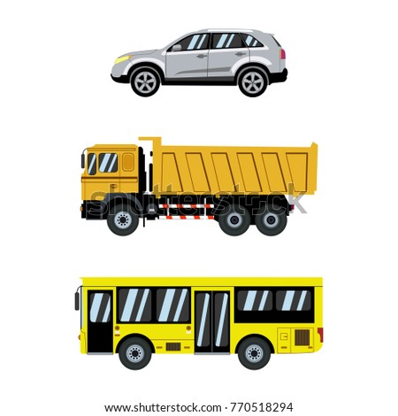 Transportation icons set. City cars and transport. Vector illustration
