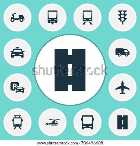 Transportation Icons Set. Collection Of Aircraft, Chopper, Scooter And Other Elements. Also Includes Symbols Such As Traffic, Van, Streetcar.