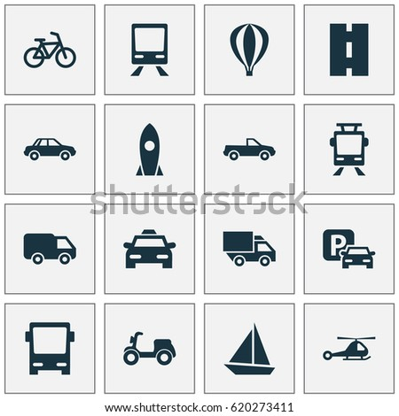 Transportation Icons Set. Collection Of Automobile, Cabriolet, Van And Other Elements. Also Includes Symbols Such As Auto, Bike, Highway.
