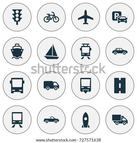 Transportation Icons Set. Collection Of Cabriolet, Aircraft, Streetcar And Other Elements. Also Includes Symbols Such As Cargo, Autobus, Aircraft.