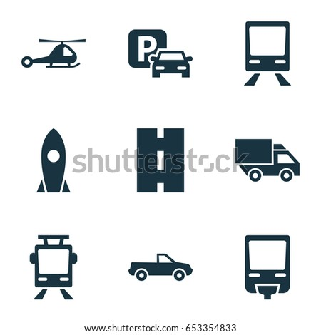 Transportation Icons Set. Collection Of Cabriolet, Chopper, Spaceship And Other Elements. Also Includes Symbols Such As Airplane, Spaceship, Highway.