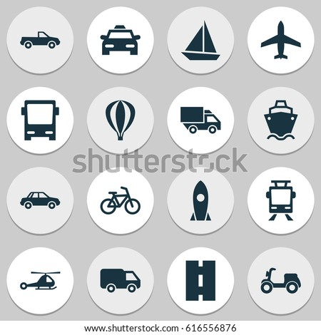 Transportation Icons Set. Collection Of Omnibus, Truck, Aircraft And Other Transportation Icons Elements. Also Includes Symbols Such As Tram, Yacht, Road.