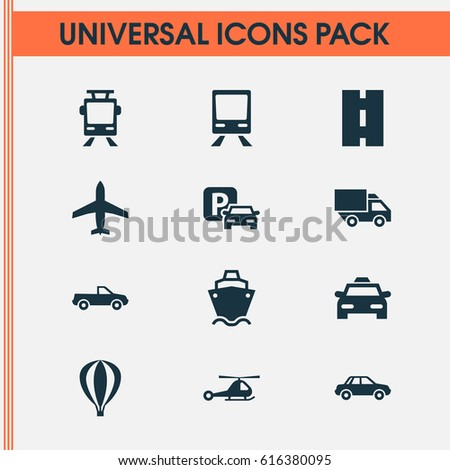 Transportation Icons Set. Collection Of Railway, Way, Airship And Other Elements. Also Includes Symbols Such As Cargo, Taxi, Tram.