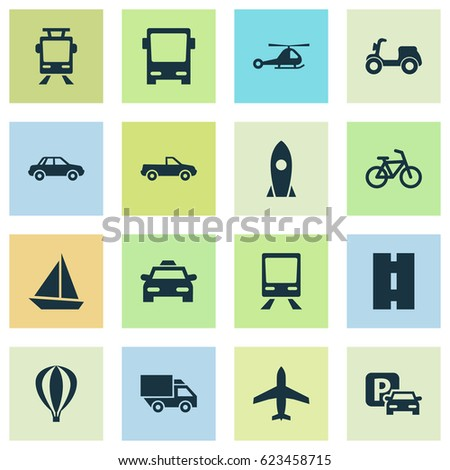 Transportation Icons Set. Collection Of Skooter, Yacht, Streetcar And Other Transport Icon Elements. Also Includes Symbols Such As Spaceship, Air, Aircraft.