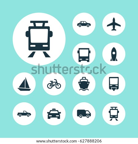 Transportation Icons Set. Collection Of Streetcar, Omnibus, Railroad And Other Elements. Also Includes Symbols Such As Monorail, Pickup, Ship.