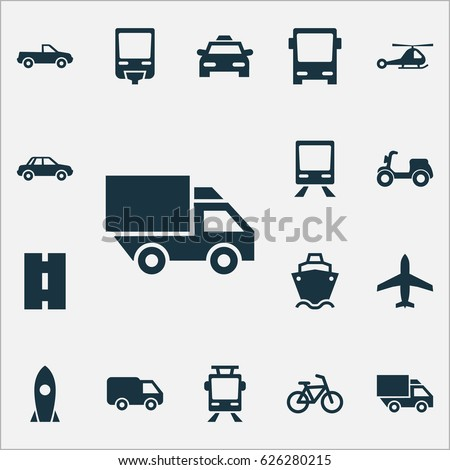 Transportation Icons Set. Collection Of Van, Railroad, Aircraft And Other Elements. Also Includes Symbols Such As Wagon, Camion, Chopper.