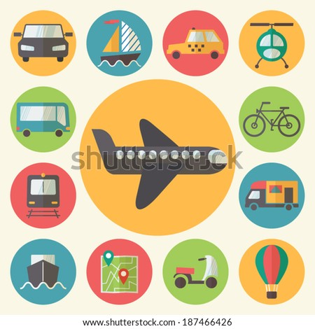 Transportation icons set, flat design vector.