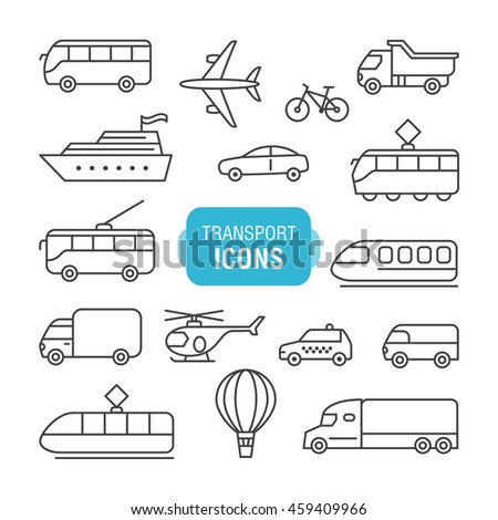 Transportation icons set isolated on a white background. Thin line design