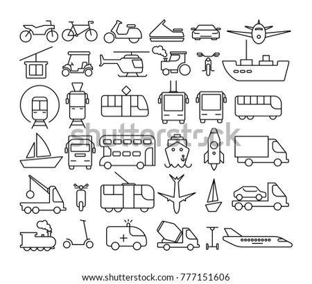 Transportation icons set. Line art. Cars and trucks, ships and planes.