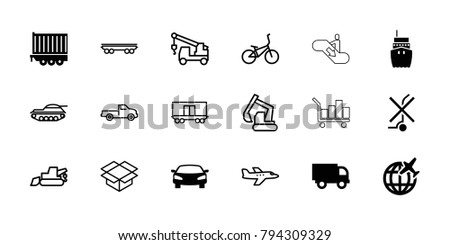 Transportation icons. set of 18 editable filled and outline transportation icons: truck, cargo trailer, car, excavator, truck with hook, box, cargo wagon, bicycle, plane, tank