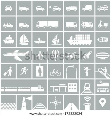 Transportation icons set - rail, water, road, air transport symbols & design elements