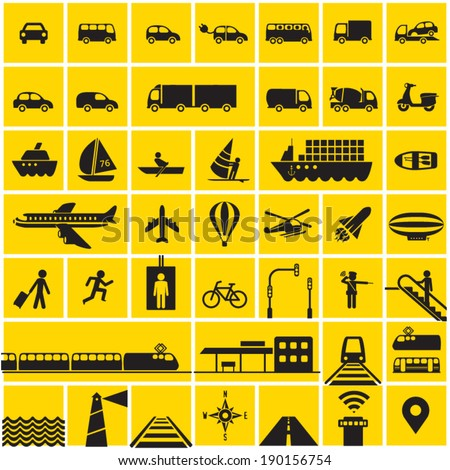 Transportation icons set - road, rail, water, air transport symbols & design elements. High contrast - Black on Yellow