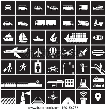 Transportation icons set - road, rail, water, air transport symbols & design elements.High contrast - White on Black