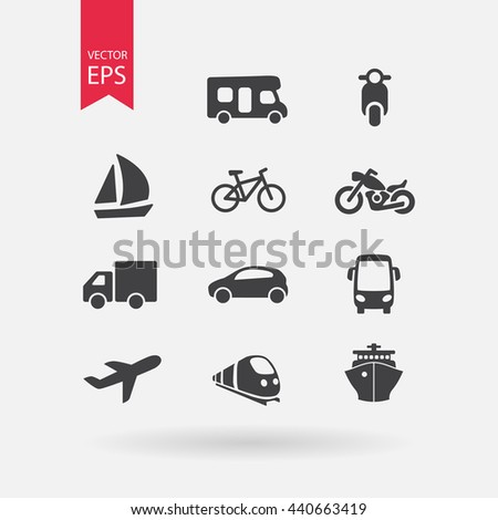Transportation icons set. Signs Isolated on white background. Flat design style. Vector illustration.