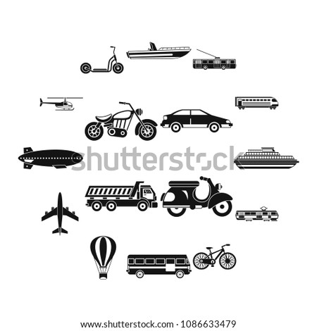 Transportation icons set. Simple illustration of 16 transportation vector icons for web