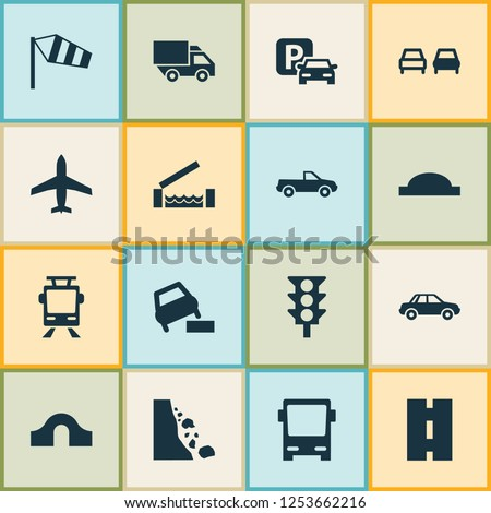 Transportation icons set with truck, side wind, soft verges and other automobile elements. Isolated vector illustration transportation icons.