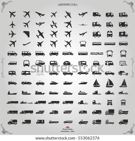 Transportation icons.  Truck, transportation icons, logistics, transport truck, car, train, bus, travel, ship, road, vehicle