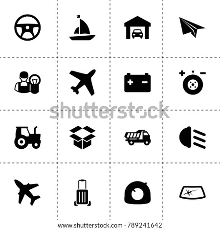 Transportation icons. vector collection filled transportation icons. includes symbols such as tractor, tire repair, wheel balance. use for web, mobile and ui design.
