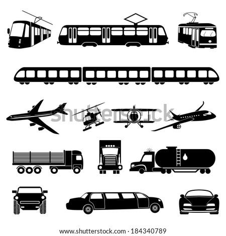 Transportation icons. Vector illustration.