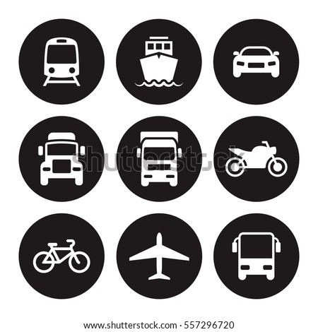 transportation icons white on