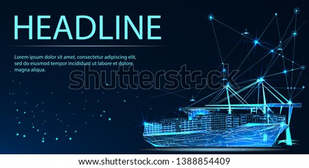Transportation, import-export and logistics concept. Shipping port with cranes and container ship. Low poly vector illustration. Headline