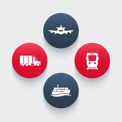 transportation industry icons, cargo train vector, air transport, cargo ship, cargo truck icon, transportation pictograms, round icons, vector illustration