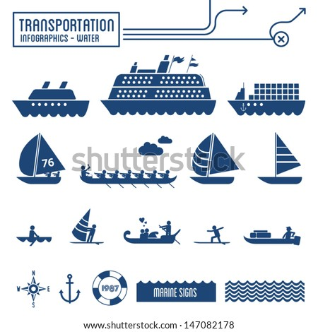 Transportation infographics - water / sea / marine graphic elements set